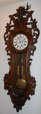 carved black forest 2 weight vienna wall clock by lenzkirch c1900s