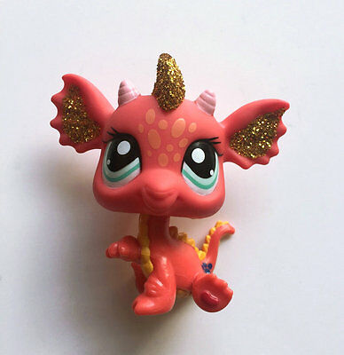 Littlest Pet Shop LPS Red Glitter Dragon Chinese New Year #2484 Loose Figure