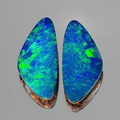 4.50cts Cute Fancy Pair Blue Green Flash Natural Opal Doublet Loose Gemstones