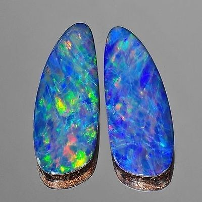 10.26cts Nice Pair Blue Green Red Flash Natural Opal Doublet Loose Gemstones