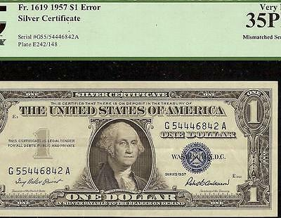 1957 $1 Dollar 55/54 Mismatched Serial Number Silver Certificate Error Note Pcgs