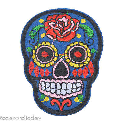 5PCs Dark Blue Skeleton Embroidered Patches For Clothes Garments Sewing Craft