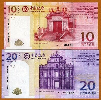 SET Macao / Macau, 10 + 20 Patacas, 2013, Bank of China, Picks 108b-109b, UNC