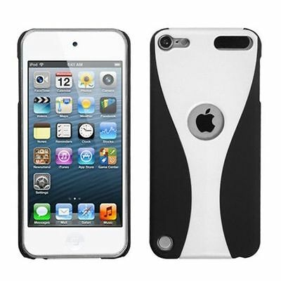 For Apple iPod Touch 5th Gen/6th Gen White Black C Wave Hard Rubber Case Cover