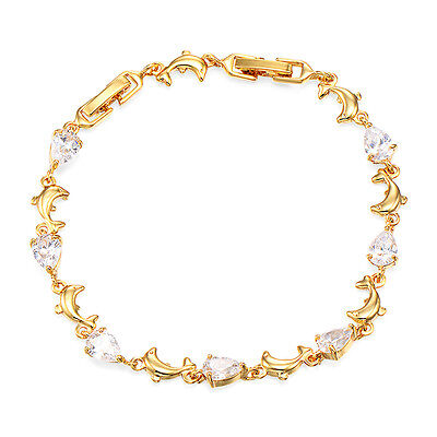 Girls Dolphin Chain Bracelet Animal 18K Yellow Gold Plated Crystal