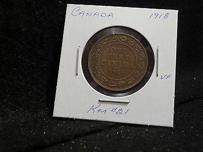 Canada :  1918  Large  Cent   George V   Coin  (Vf.)  ( #51 )  Km # 21