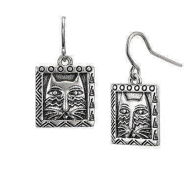 New LAUREL BURCH Earrings Jewelry ZIGGY CAT FACE Silver Dangle Drop Charm SQUARE