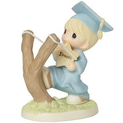 PRECIOUS MOMENTS Figurine SHOOT FOR THE STARS Boy Graduation Statue PORCELAIN