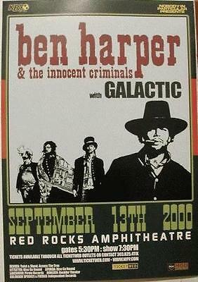 Ben Harper Galactic Red Rocks 2000 Colorado Concert Poster Original