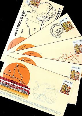 Australia 5x different railway covers see scans x2
