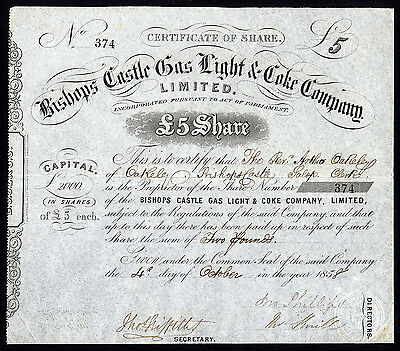 Bishops Castle Gas, Light & Coke Co. Ltd., £5 share, 1858