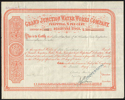 Grand Junction Water Works Co., Perpetual 4% Debenture stock, 1903