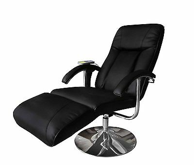 Leather Massage Chair Recliner Electric Remote Control Stretching Black Office