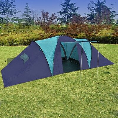 Outdoor Blue Family 9 Person Camping Dome Tent Beach Hiking Canvas Shelter