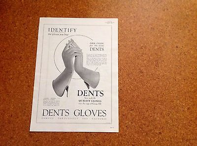 Rare Large Original 1934 Advertising for Dents Gloves