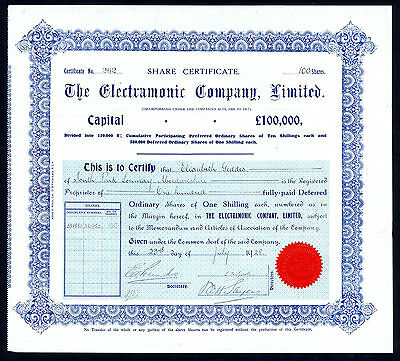 Electramonic Company Ltd, 1/- shares, 1928, gramaphone manufacturers
