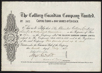 Colliery Guardian Co. Ltd., £10 shares, 1891