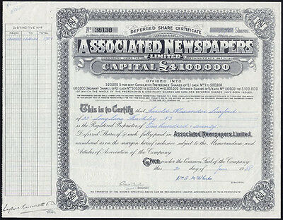 Associated Newspapers Ltd., deferred 5/- shares, 1938