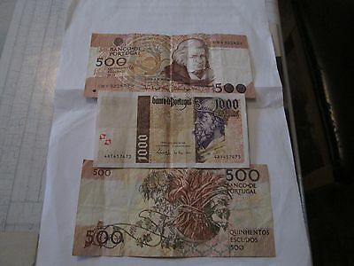 3 X Banknotes From Portugal