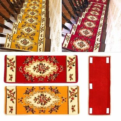 65x24cm Home Hotel Stair Treads Floral Rectangle Non-slip Carpet Mats Rugs Pads
