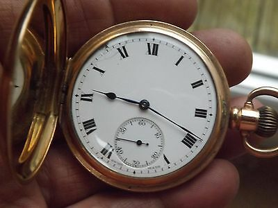 Good Antique Gold Plated Full Hunter A.l.d Dennison Moon Pocket Watch - Working