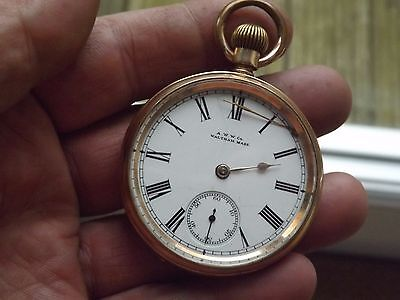 Good Antique Gold Plated A.l.d, A.w.w.c Co. Waltham Royal Pocket Watch - Working