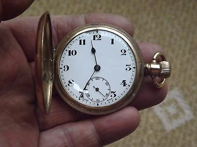 Antique Gold Plated Full Hunter Empress A.w.c Co Record Pocket Watch - Working