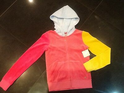 NWT Juicy Couture New & Gen. Girls Age 8/10 Pink Velour Hoody & With Heart Logo
