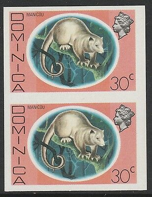 Dominica (S98) 1975 definitives 30c Common Opossum  IMPERFORATE PAIR  unmounted