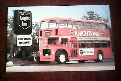 postcard Knights Inn Ohio 1963 Bristol double decker imported from England