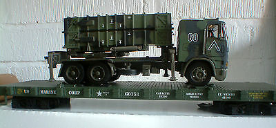 Usa Trains G Scale Us Marine Corps Flat Car + Patiriot Missile