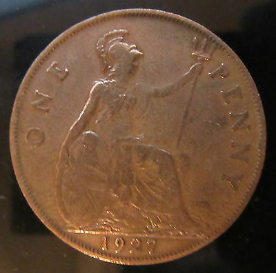 1927 George V 1 Penny Coin 2 Pics