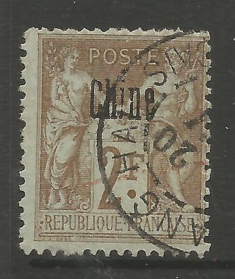 FRENCH POST OFFICES IN CHINA. 1900. 2f Brown on Pale Blue. SG: 16. Fine Used.