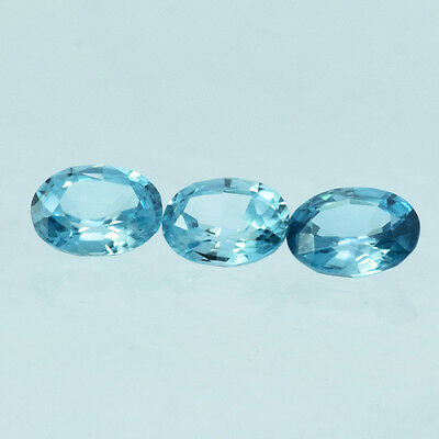 STUNNING NATURAL NICE BLUE ZIRCON OVAL 5x4 MM 3 PCS 1.40 CTS FROM CAMBODIA