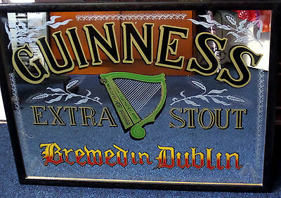 """Professionally Framed Guinness Pub Mirror 26"""" X 20"""" Immaculate"""