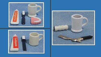 1:12 scale dolls house miniature toiletries accessories sets 3 to choose from.