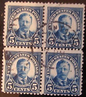 U.S.A Roosevelt 5 Cents block of 4 used Stamps
