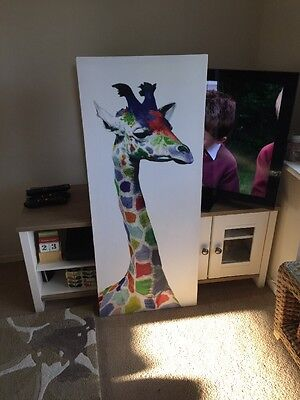 Large Giraffe Canvas Picture Wall Art Rainbow Coloured