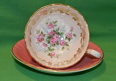 Stunning Aynsley Fine Bone China Tea Cup & Saucer With Pink Rose Decoration