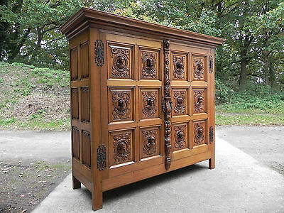 Antique French Renaissance Cabinet WONDERFUL Carved Busts on Each Door Solid Oak