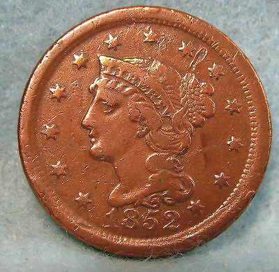 1852 Braided Hair Large Cent * Circulated US Coin #244
