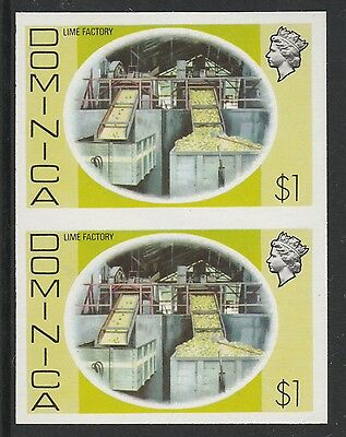 Dominica (S101) 1975 definitives $1 Lime Factory  IMPERFORATE PAIR  unmounted