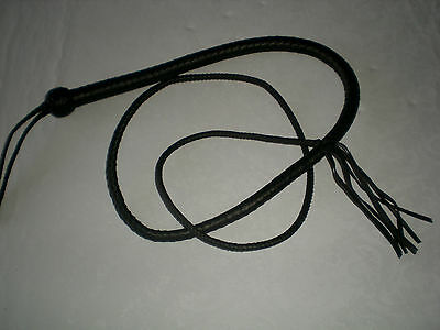 "USA Hand crafted Genuine Leather Bull Whip, 72"" Black Bullwhip, 6 Ft, Unisex"