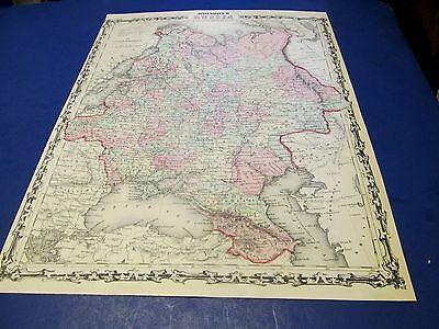 1861 Map of  Russia  by Johnson and Browning. original