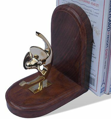 Detailed brass propeller wooden bookend