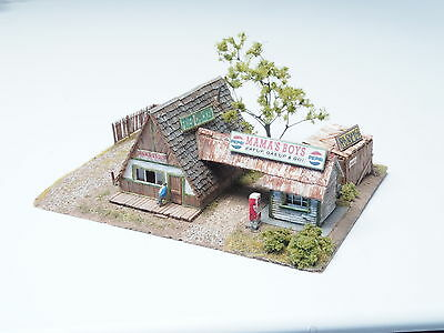 Z-scale Rural Gas Station Diorama Hand Built Structure in wood w/ high detailing