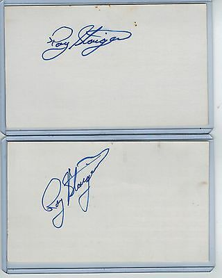 (2) Roy Staiger Index Card Signed 195-79 Mets Yankees Psa/dna Certified