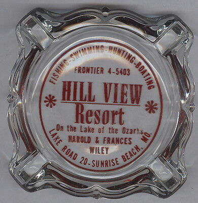 Old Glass Ash Tray, Hill View Resort, Sunrise Beach, Mo. Lake Of The Ozarks