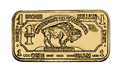 1 Gram Pure Solid .999 Bronze Buffalo Science Educational Bullion Ingot Bar