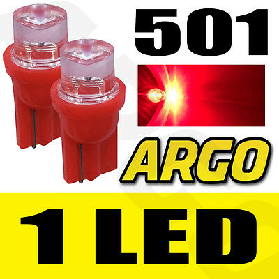 2x 501 CONCAVE LED SIDELIGHT BULBS RED XENON T10 W5W 194 HID WEDGE LAMP LIGHT